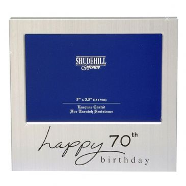 Happy Birthday Satin Silver Plated Photo Frame 70th